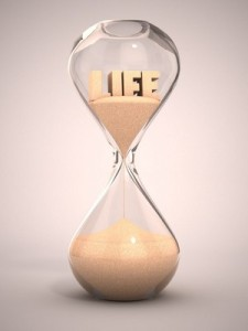 Life passing in an hourglass